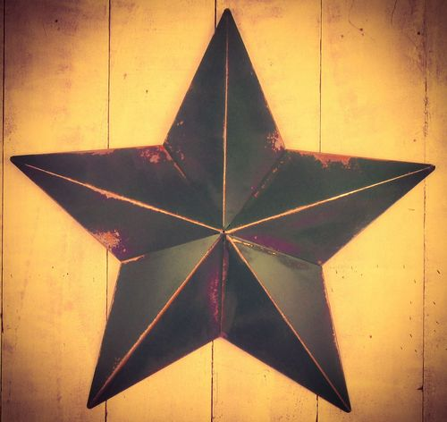 "Huge Metal 33"" Emerald Green Amish Barn Star"